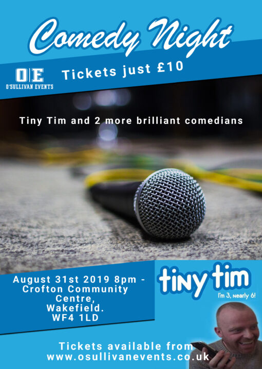 Comedy event Crofton Community Centre, Wakefield 31st August